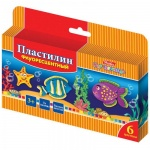 Пластилин Hatber Морская семейка 6 цветов, восковой, флуоресцентный, со стеком