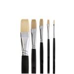 Набор кистей для рисования Малевичъ щетина №2 №4 №10 №16 №24, плоские, длинная ручка