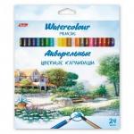 Набор акварельных карандашей Hatber Пейзаж 24 цвета