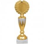 Кубок пластиковый Артанс Венец 24см, мрамор с золотом, белый