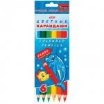 Набор цветных карандашей Hatber Jumbo Морская семейка 6 цветов, утолщенные