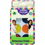 Грим для лица Фабрика Фантазий 6 цветов, с кистью-аппликатором, белая пластиковая палитра