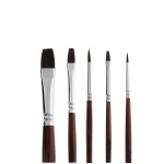 Набор кистей для рисования Малевичъ Осень синтетика, №1 №4 круглые, №2 №6 №14 плоские, длинная ручка