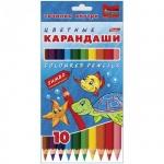 Набор цветных карандашей Hatber Jumbo Морская семейка 10 цветов, утолщенные