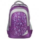 Рюкзак для девочек Brauberg Цветочный узор, сиреневый