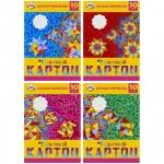 Цветной картон Биджи 10 цветов, А4, 10 листов, Ассорти