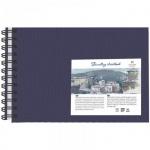 Блокнот для рисования Palazzo Travelling sketchbook синий горизонтальный, А5, 130 г/м2, 80 листов, на спирали, тонированный, слоновая кость
