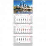 Календарь квартальный Office Space Standard Мегаполис, 3-х бл., 3 гр., с бегунком, 2017