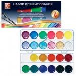 Набор для рисования Луч №6 акварель 12 цветов медовая, 6 цветов флуоресцентная, 6 цветов перламутровая, кисть №3