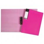 Папка пластиковая с зажимом Hatber HD неоново-розовая, А4