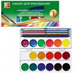 Набор художественный Луч №7 12 цветов акварель медовая, 6 цветов акварель флуоресцентная, 6 цветов восковые карандаши, кисть