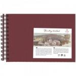 Блокнот для рисования Palazzo Travelling sketchbook бордовый горизонтальный, А5, 130 г/м2, 80 листов, на спирали, тонированный, слоновая кость