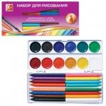Набор для рисования Луч №4 акварель 12 цветов медовые, 16 цветов карандаши восковые, кисть №3