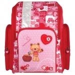 Ранец для девочек Brauberg Мишка, красно-розовый, пластиковые ножки