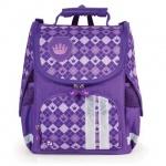 Ранец для девочек Brauberg Клетка, фиолетовый, плотные боковины и спинка