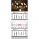 Календарь квартальный Office Space Standard Розы, 3-х бл., 3 гр., с бегунком, 2017