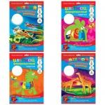 Цветной картон Ктс 8 цветов, А4, 8 листов, мелованный, флуоресцентный