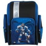 Ранец для мальчиков Brauberg Робот, черно-синий, пластиковые ножки