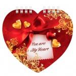 Блокнот Hatber Ты мое сердечко, А6, 60 листов, нелинованный, на спирали, мелованный картон, фигурная высечка