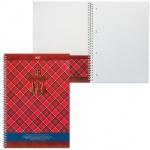 Тетрадь Hatber Шотландка, A4, 100 листов, в клетку, на спирали, мелованный картон