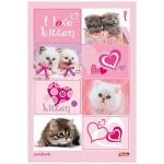 Блокнот Hatber Ваниль I Love kitten, А5, 80 листов, нелинованный, на сшивке, ламинированный картон, тонированный блок