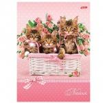 Блокнот Hatber Три котенка, А5, 120 листов, в клетку, на сшивке, книжный переплет с поролоном
