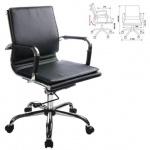 Кресло руководителя Бюрократ CH-993-Low иск. кожа, черная, крестовина хром