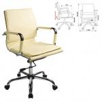 Кресло руководителя Бюрократ CH-993-Low иск. кожа, слоновая кость, крестовина хром