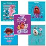 Тетрадь школьная Hatber Angry Birds, А5, 18 листов, в линейку, на скрепке, мелованный картон