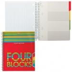 Тетрадь Hatber Four Blocks, А5, 120 листов, в клетку, на спирали, мелованный картон
