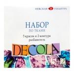 Краска акриловая по ткани Невская Палитра Декола 5 цветов по 20мл, 2 контура по 18мл, разбавитель