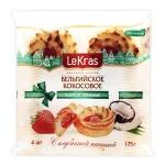 Печенье Lekras Бельгийское кокосовое с клубничной начинкой, 175г