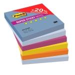 Блок для записей с клейким краем Post-It Super Sticky Воздух, 5 цветов неон, 76х76мм, 6х90 листов, 654-6SSBP