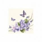 Салфетки сервировочные Pol-Mak Daisy Незабудки с бабочками, 33х33см, 3 слоя, 20шт