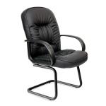Кресло посетителя Chairman 416 V иск. кожа, коричневая, темная, на полозьях