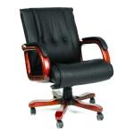 Кресло руководителя Chairman 653-M нат. кожа, черная, крестовина дерево, низкая спинка
