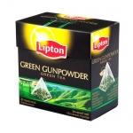 Чай Lipton Green Gunpowder, зеленый, в пирамидках, 20 пакетиков