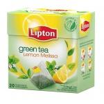 Чай Lipton, зеленый, в пирамидках, 20 пакетиков, Lemon Melissa