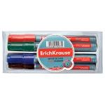 Маркер для досок Erich Krause W500 набор 4 цвета, 0.8-2.2мм, пулевидный наконечник, с губкой