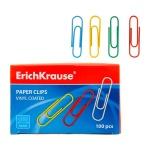 Скрепки канцелярские Erich Krause 33мм, цветные, 100шт/уп, 24872