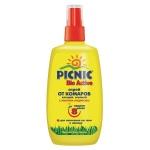 Средство от насекомых Picnic Bio Active 120мл, спрей, от клещей и комаров
