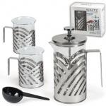 Набор для заваривания чая Waltz френч-пресс (600мл)+2 стакана (по 200мл), стекло/нержавеющая сталь