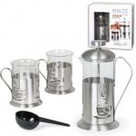 Набор для заваривания чая Waltz рисунок чашка, френч-пресс (350мл)+2 стакана (по 200мл), стекло/нержавеющая сталь