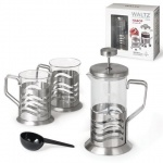 Набор для заваривания чая Waltz рисунок волна, френч-пресс (350мл)+2 стакана (по 200мл), стекло/нержавеющая сталь