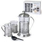 Набор для заваривания чая Waltz френч-пресс (600мл)+4 стакана (по 200мл), стекло/нержавеющая сталь