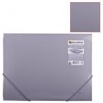 Пластиковая папка на резинке Brauberg Диагональ серебряная, А4, до 300 листов