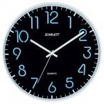 Часы настенные Scarlett SC-WC1007O черные, d=30см, круглые