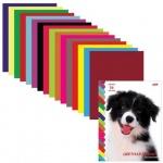 Цветная бумага Hatber 16 цветов, А4, 16 листов, двухсторонняя, Щенок