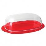 Масленка с крышкой Idea 10.6х19х6см, красная