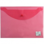 Папка-конверт на кнопке Staff красная, А4, до 100 листов, 0.12мм